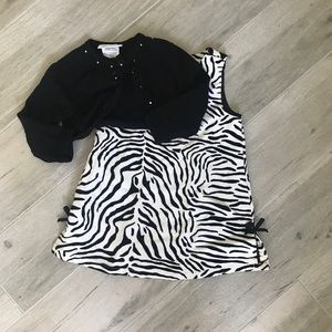 Gymboree animal print dress and sweater SZ 12-18M